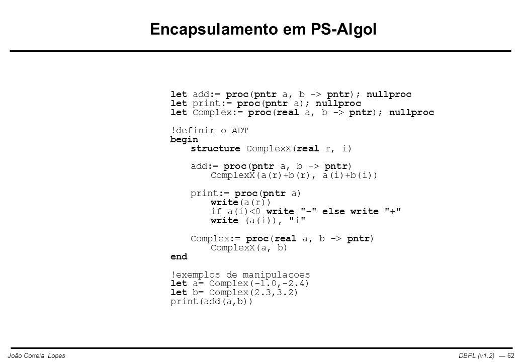 Encapsulamento em PS-Algol