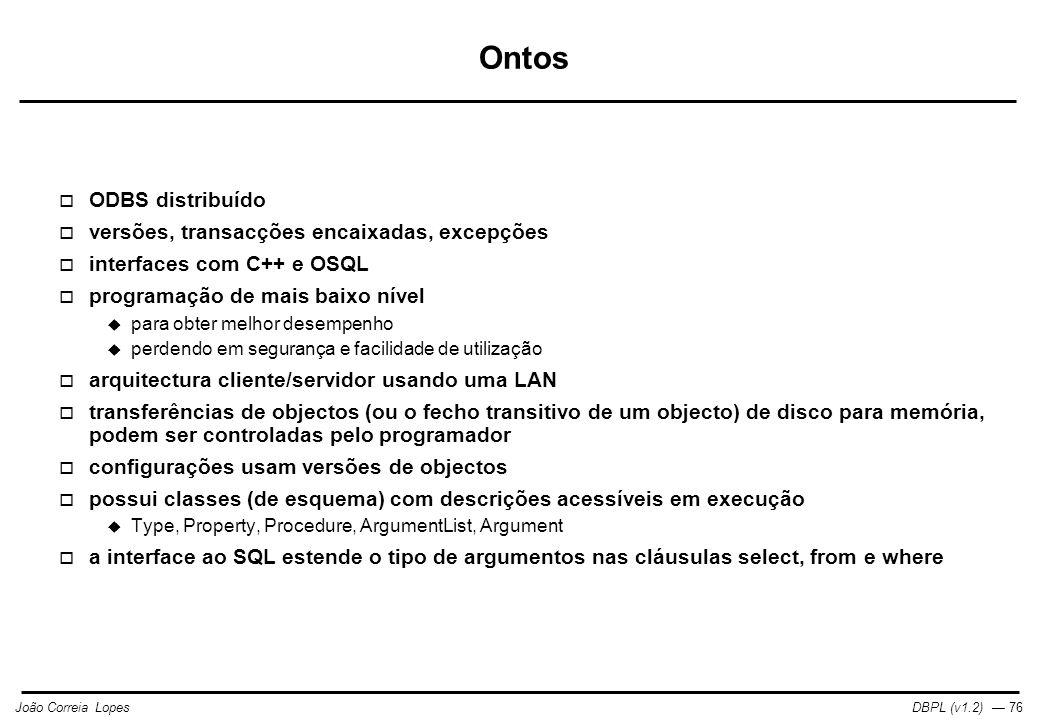 Ontos ODBS distribuído versões, transacções encaixadas, excepções