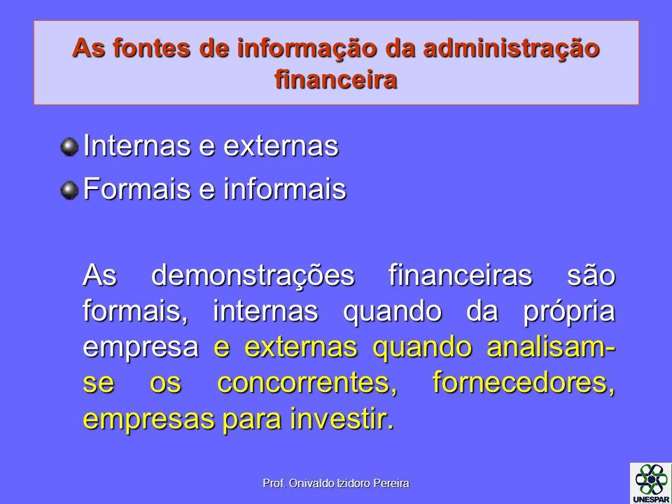 As fontes de informação da administração financeira