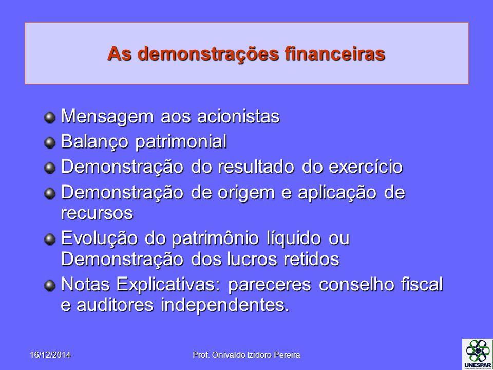 As demonstrações financeiras