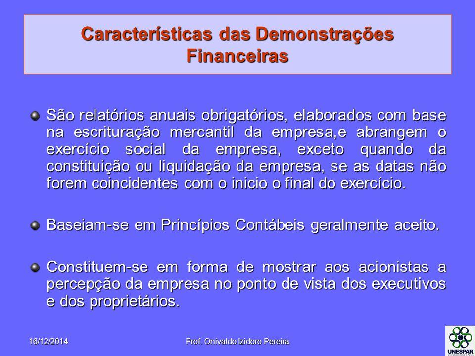 Características das Demonstrações Financeiras