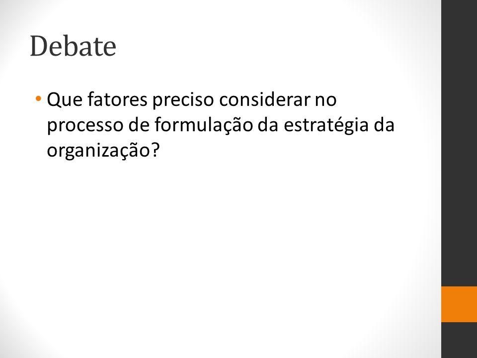 Debate Que fatores preciso considerar no processo de formulação da estratégia da organização