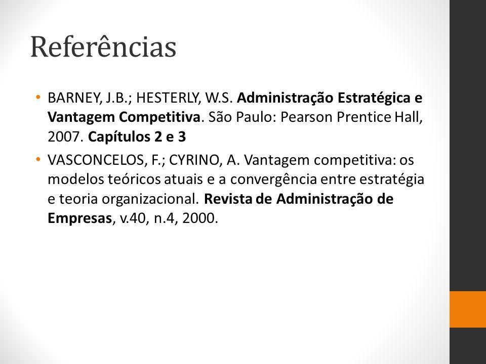 Referências BARNEY, J.B.; HESTERLY, W.S. Administração Estratégica e Vantagem Competitiva. São Paulo: Pearson Prentice Hall, 2007. Capítulos 2 e 3.