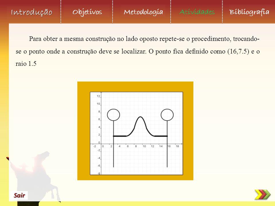 Para obter a mesma construção no lado oposto repete-se o procedimento, trocando-se o ponto onde a construção deve se localizar.