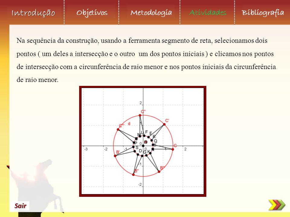 Na sequência da construção, usando a ferramenta segmento de reta, selecionamos dois pontos ( um deles a intersecção e o outro um dos pontos iniciais ) e clicamos nos pontos de intersecção com a circunferência de raio menor e nos pontos iniciais da circunferência de raio menor.