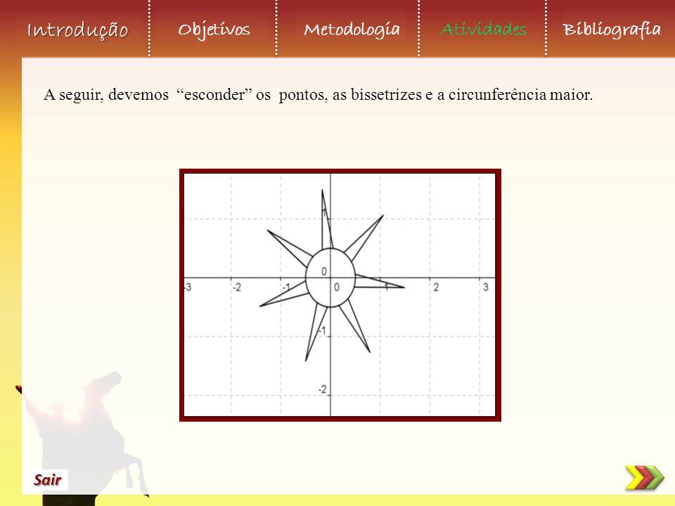 A seguir, devemos esconder os pontos, as bissetrizes e a circunferência maior.