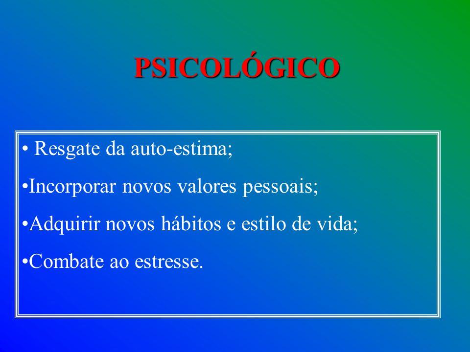 PSICOLÓGICO Resgate da auto-estima; Incorporar novos valores pessoais;