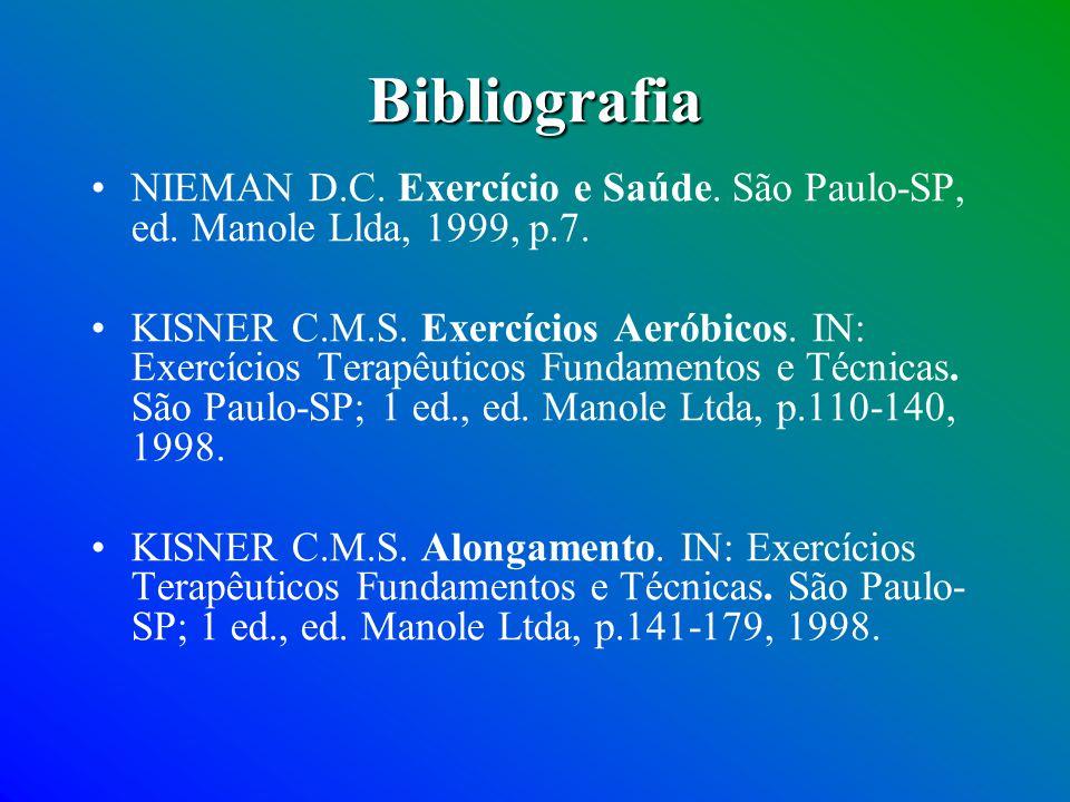 Bibliografia NIEMAN D.C. Exercício e Saúde. São Paulo-SP, ed. Manole Llda, 1999, p.7.