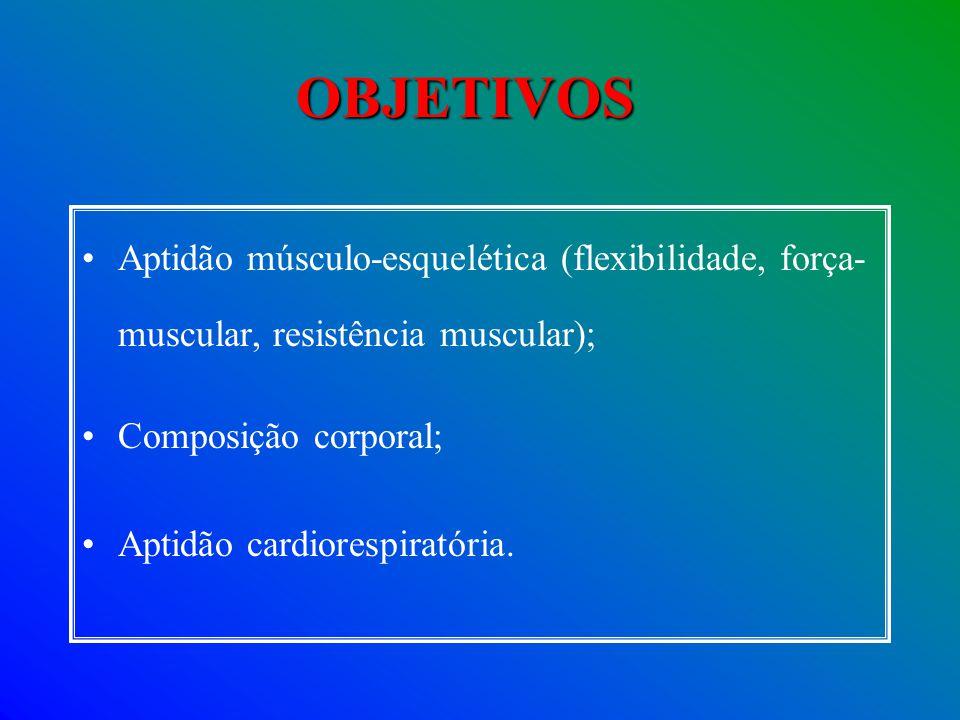 OBJETIVOS Aptidão músculo-esquelética (flexibilidade, força-muscular, resistência muscular); Composição corporal;