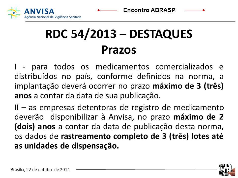 RDC 54/2013 – DESTAQUES Prazos