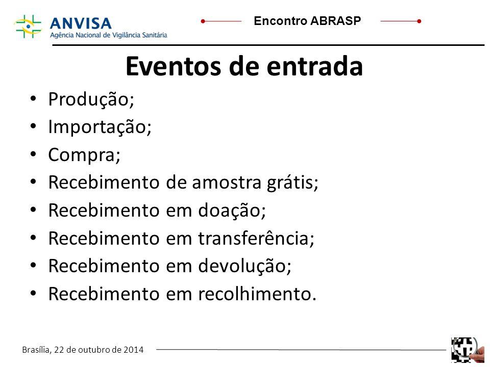 Eventos de entrada Produção; Importação; Compra;