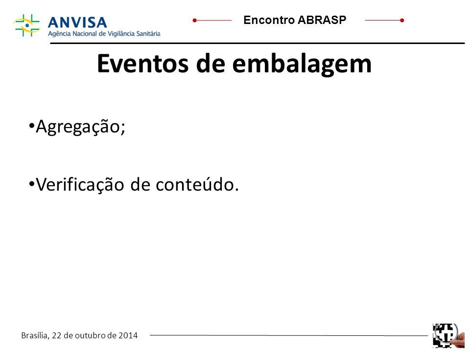 Eventos de embalagem Agregação; Verificação de conteúdo. .