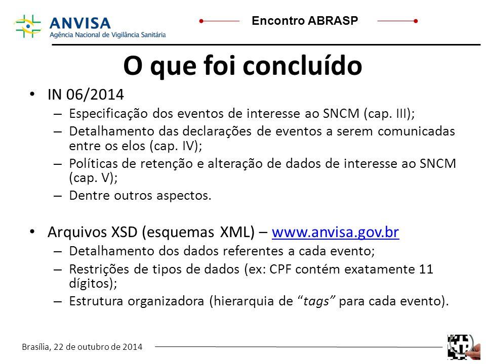 O que foi concluído IN 06/2014. Especificação dos eventos de interesse ao SNCM (cap. III);