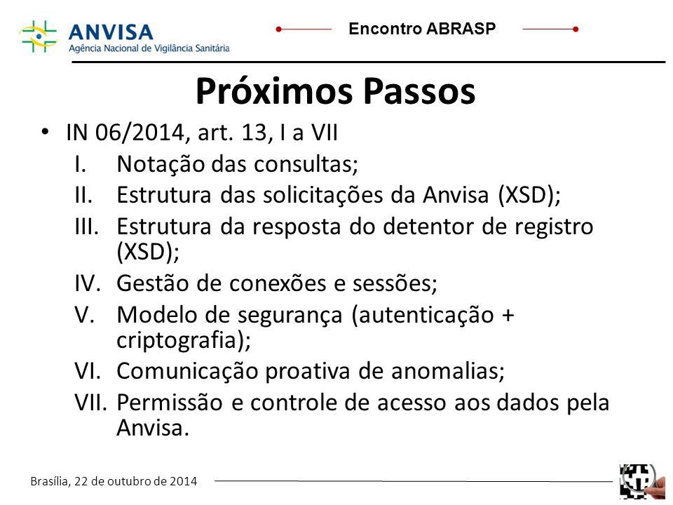 Próximos Passos IN 06/2014, art. 13, I a VII Notação das consultas;