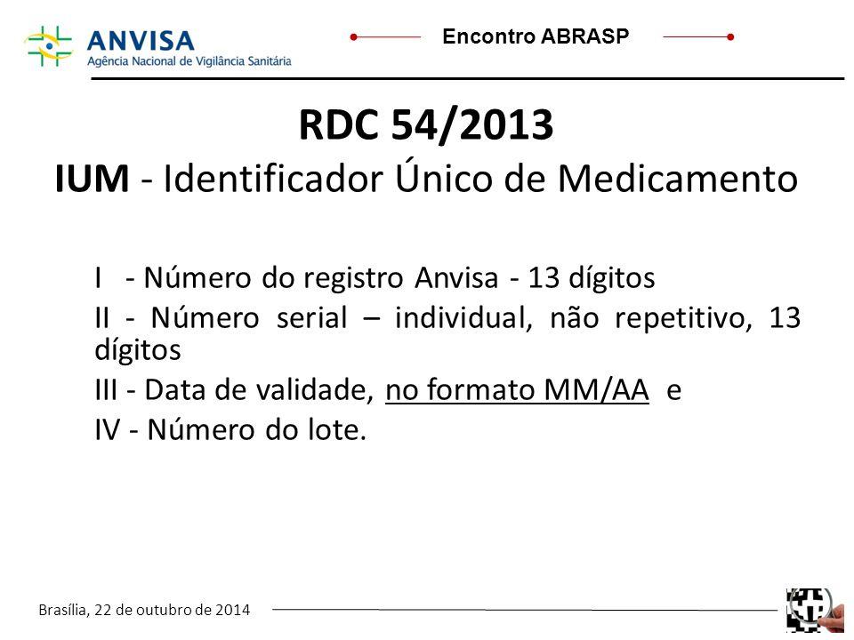 RDC 54/2013 IUM - Identificador Único de Medicamento