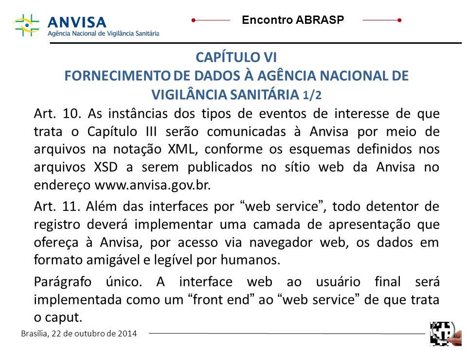 FORNECIMENTO DE DADOS À AGÊNCIA NACIONAL DE VIGILÂNCIA SANITÁRIA 1/2