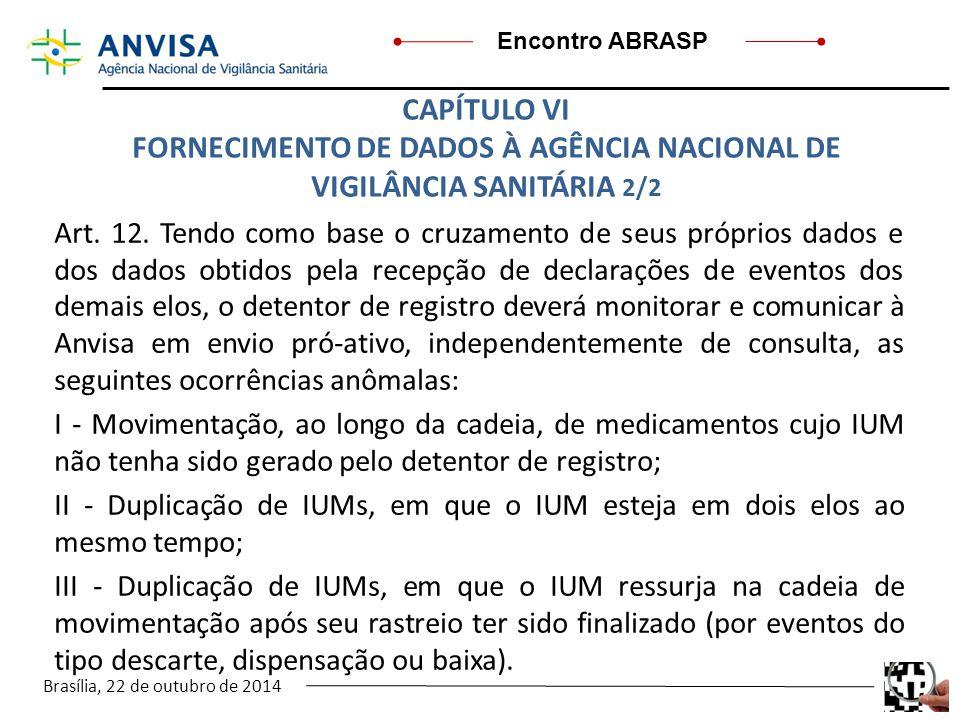 FORNECIMENTO DE DADOS À AGÊNCIA NACIONAL DE VIGILÂNCIA SANITÁRIA 2/2