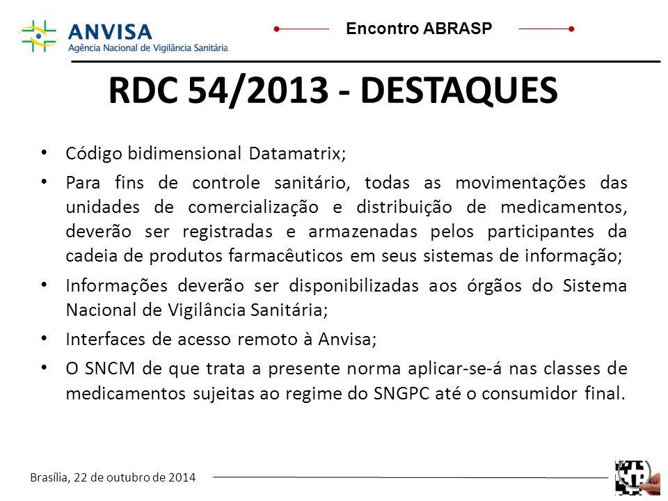 RDC 54/2013 - DESTAQUES Código bidimensional Datamatrix;