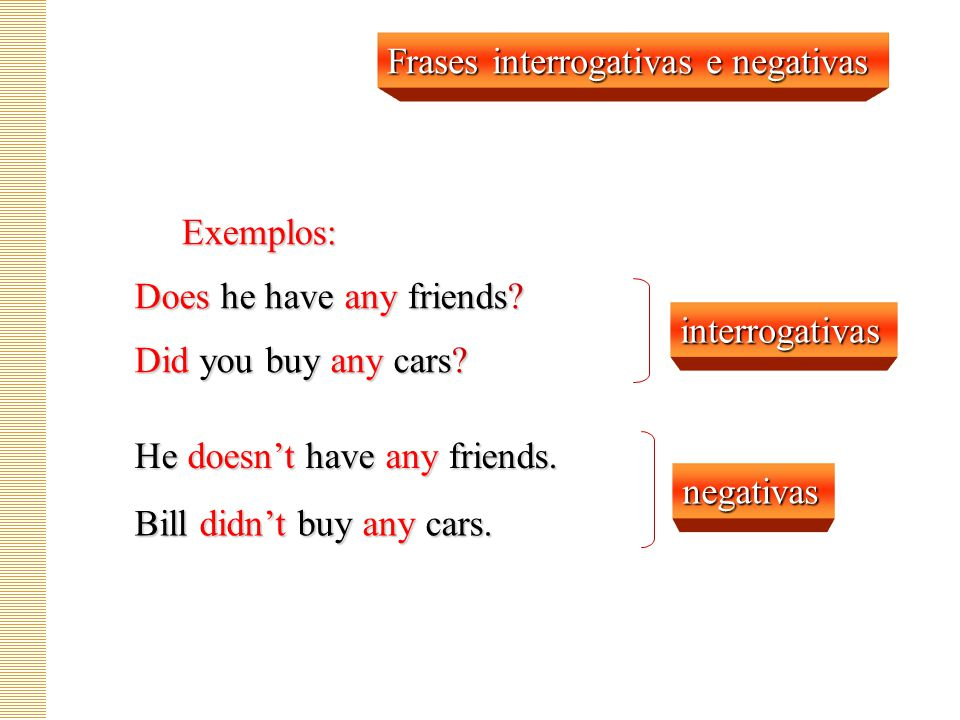 Frases interrogativas e negativas