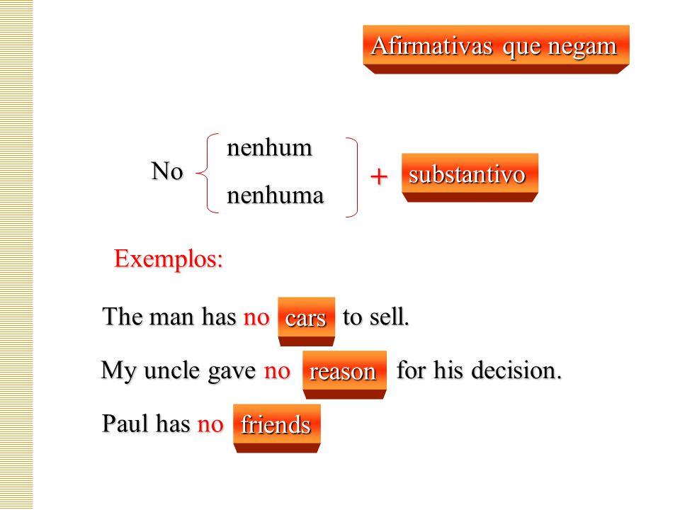 + Afirmativas que negam nenhum No substantivo nenhuma Exemplos: cars