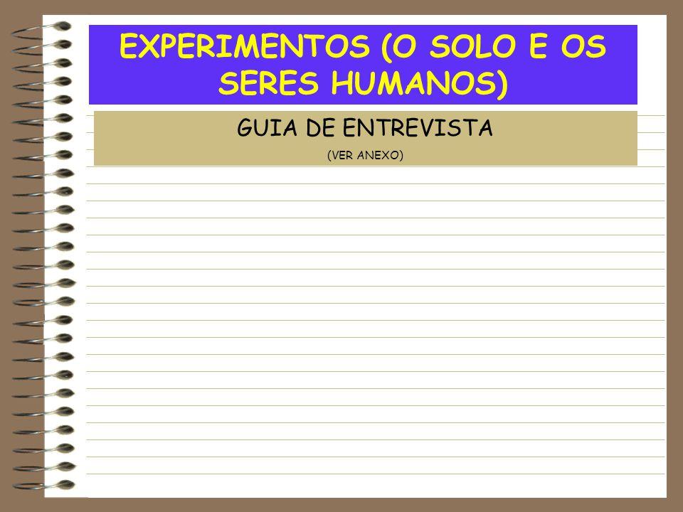 EXPERIMENTOS (O SOLO E OS SERES HUMANOS)
