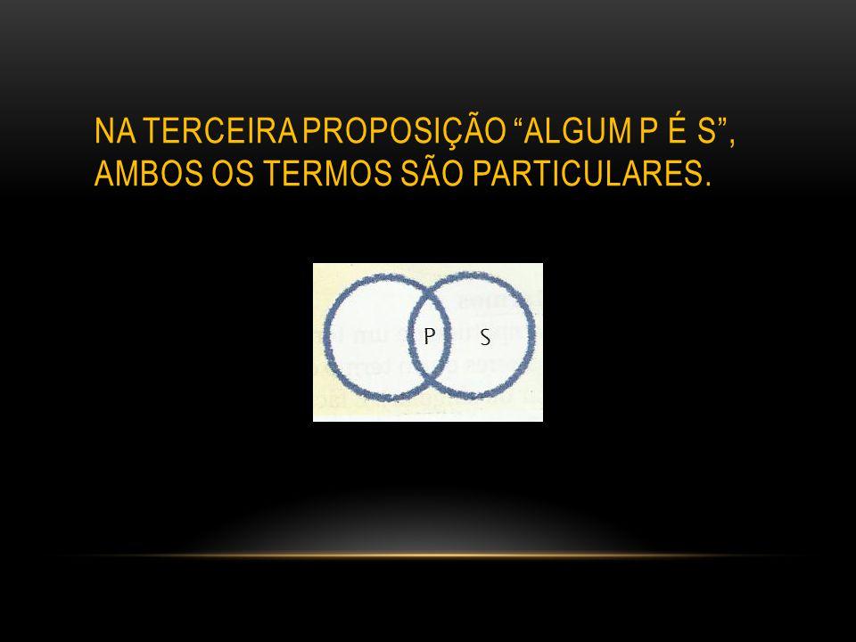 NA TERCEIRA PROPOSIÇÃO ALGUM P É S , AMBOS OS TERMOS SÃO PARTICULARES.