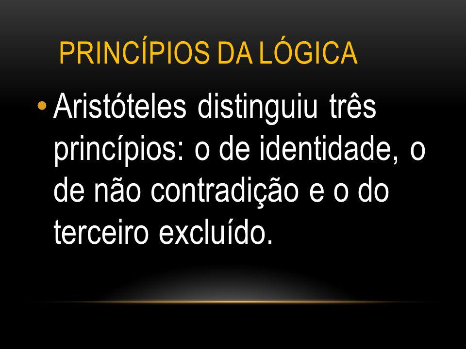 Princípios da lógica Aristóteles distinguiu três princípios: o de identidade, o de não contradição e o do terceiro excluído.