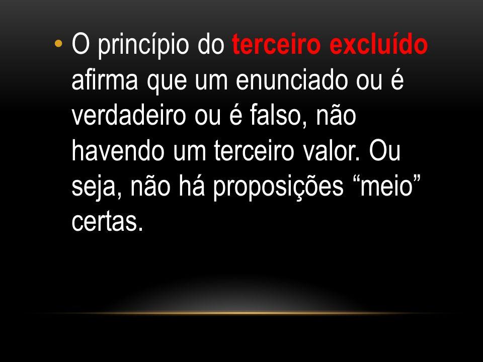 O princípio do terceiro excluído afirma que um enunciado ou é verdadeiro ou é falso, não havendo um terceiro valor.