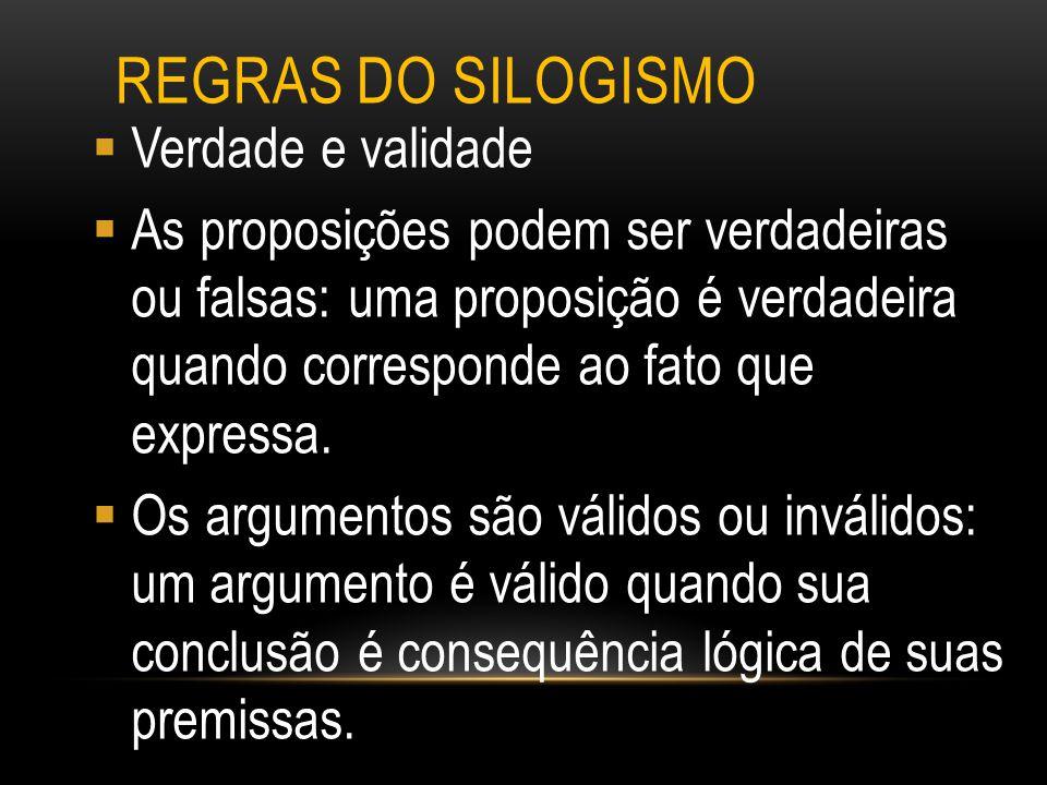 Regras do silogismo Verdade e validade