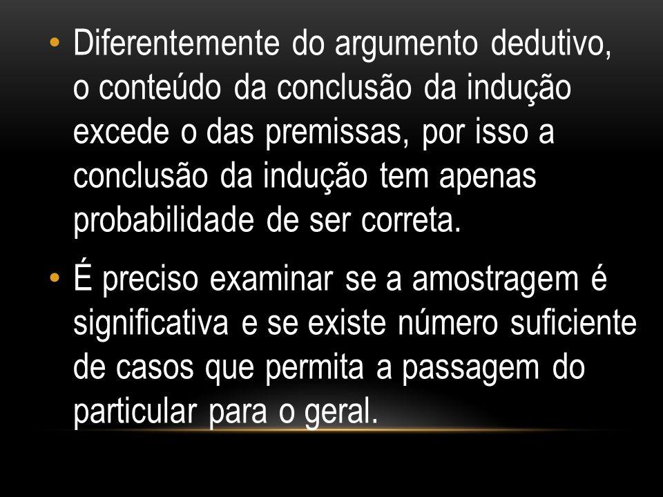 Diferentemente do argumento dedutivo, o conteúdo da conclusão da indução excede o das premissas, por isso a conclusão da indução tem apenas probabilidade de ser correta.