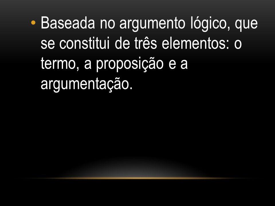 Baseada no argumento lógico, que se constitui de três elementos: o termo, a proposição e a argumentação.