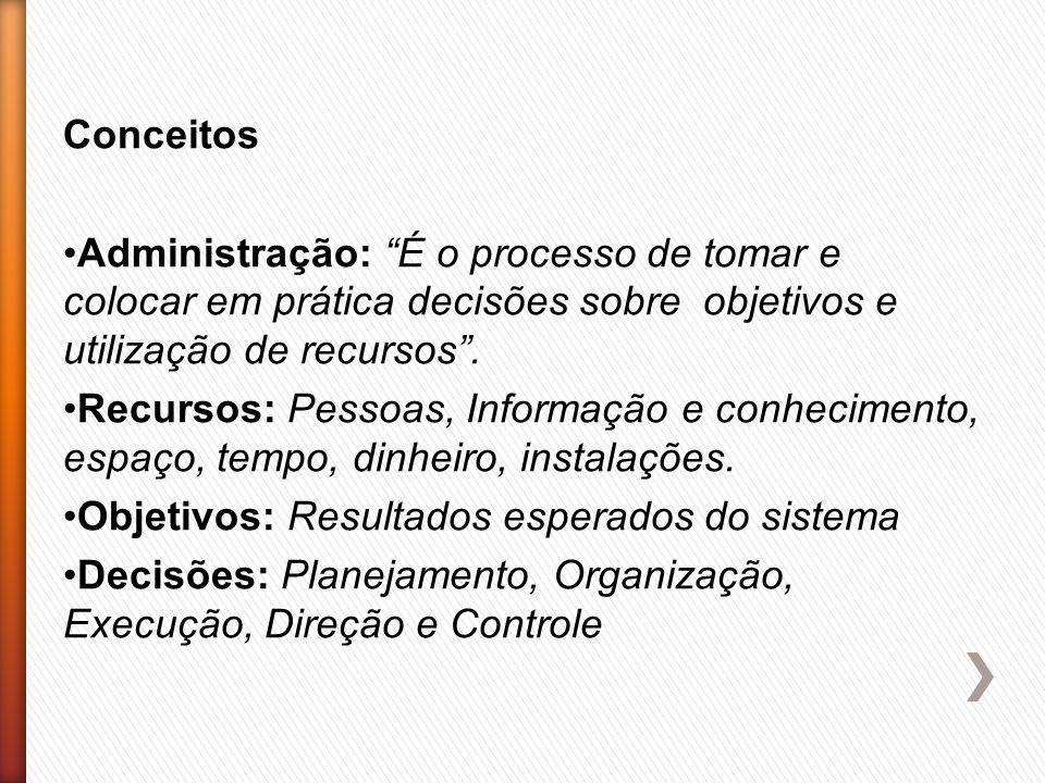 Conceitos Administração: É o processo de tomar e colocar em prática decisões sobre objetivos e utilização de recursos .
