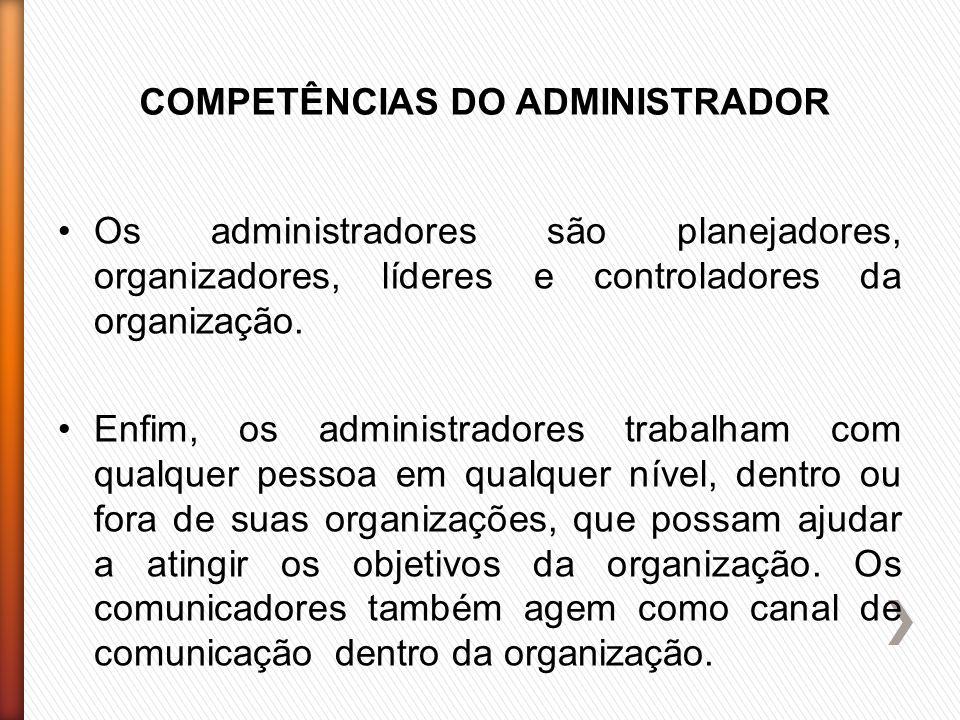 COMPETÊNCIAS DO ADMINISTRADOR