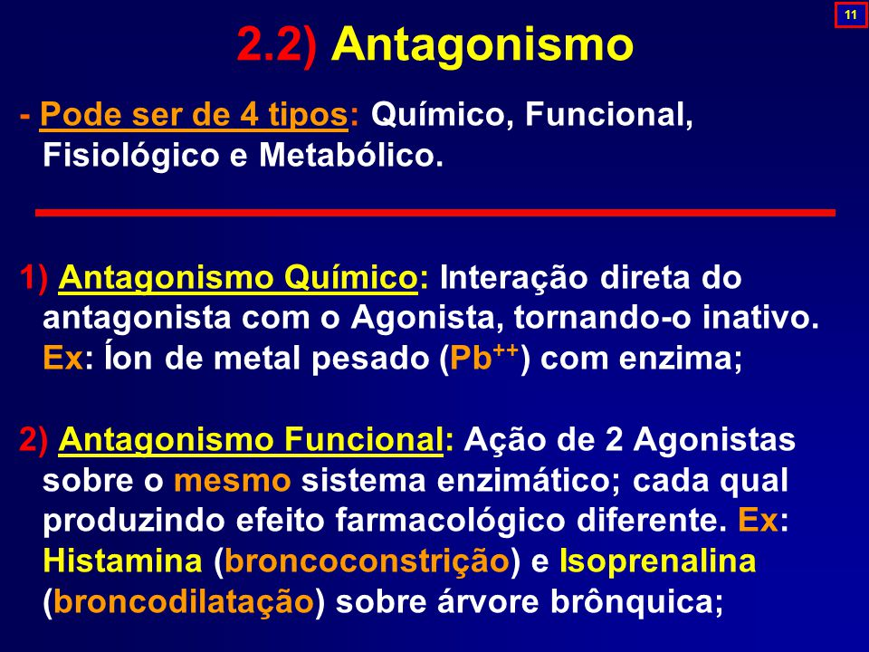 2.2) Antagonismo 11. - Pode ser de 4 tipos: Químico, Funcional, Fisiológico e Metabólico.