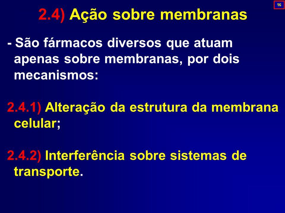 2.4) Ação sobre membranas 16. - São fármacos diversos que atuam apenas sobre membranas, por dois mecanismos: