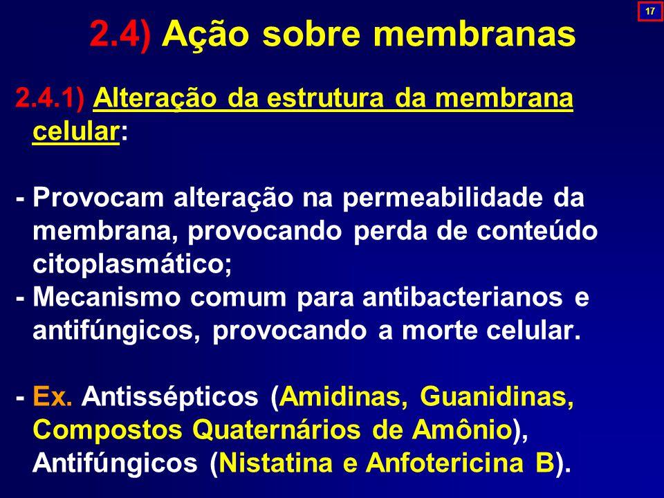 2.4) Ação sobre membranas 17. 2.4.1) Alteração da estrutura da membrana celular: