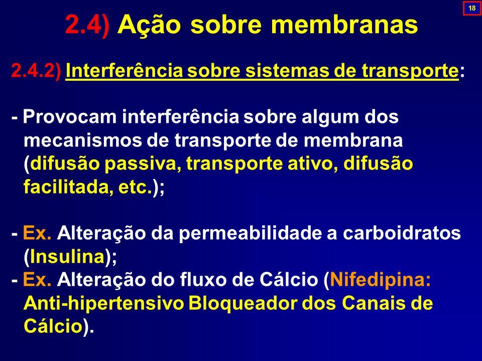 2.4) Ação sobre membranas 18. 2.4.2) Interferência sobre sistemas de transporte: