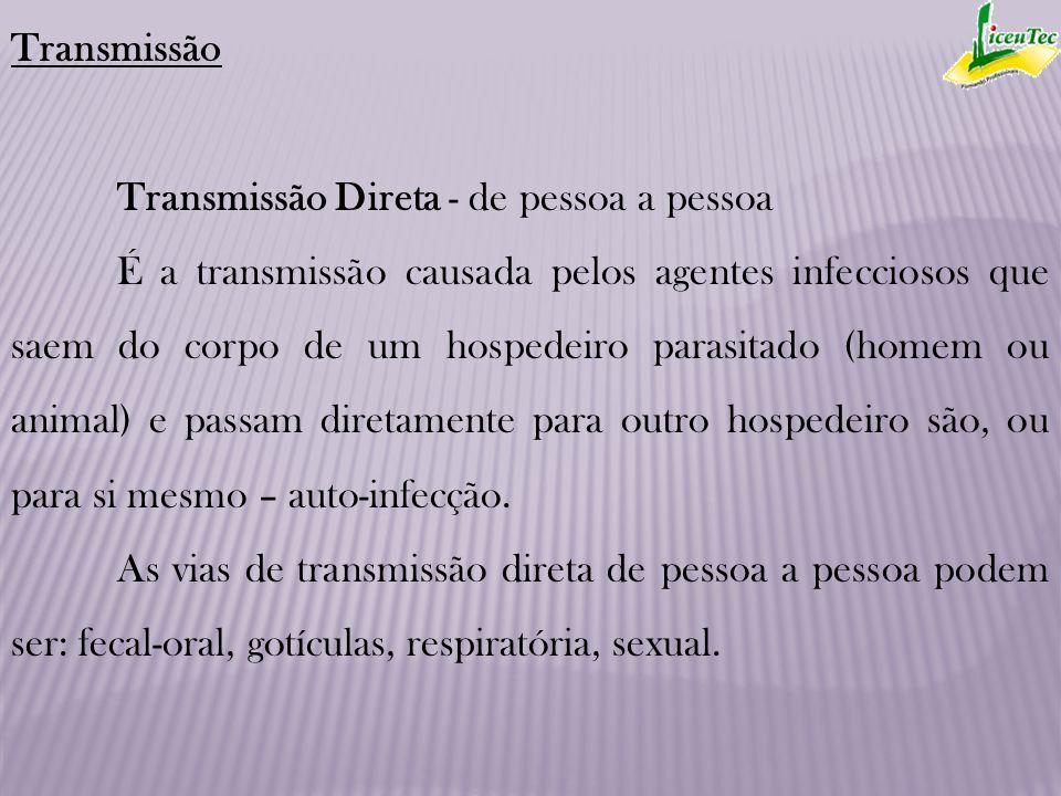 Transmissão Transmissão Direta - de pessoa a pessoa.