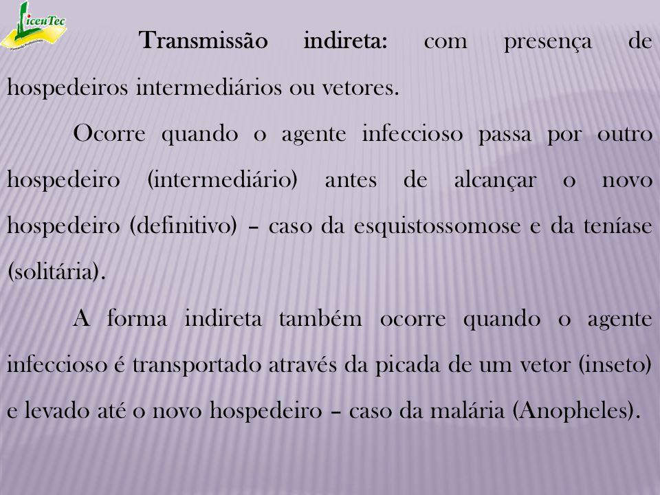 Transmissão indireta: com presença de hospedeiros intermediários ou vetores.