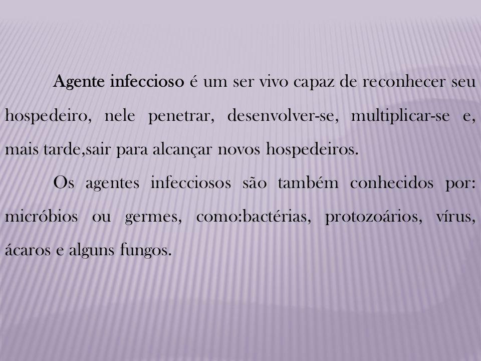 Agente infeccioso é um ser vivo capaz de reconhecer seu hospedeiro, nele penetrar, desenvolver-se, multiplicar-se e, mais tarde,sair para alcançar novos hospedeiros.