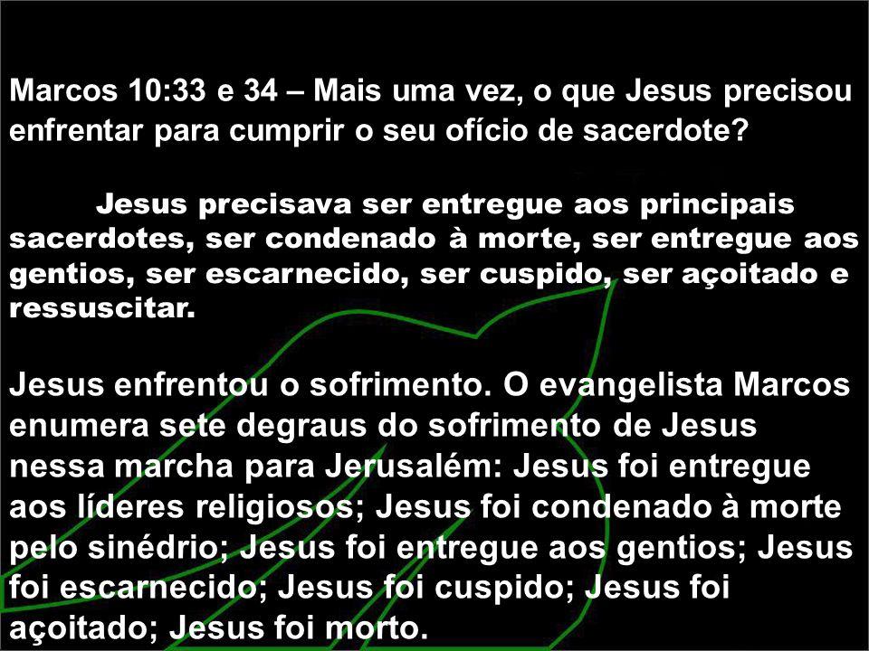 Marcos 10:33 e 34 – Mais uma vez, o que Jesus precisou enfrentar para cumprir o seu ofício de sacerdote