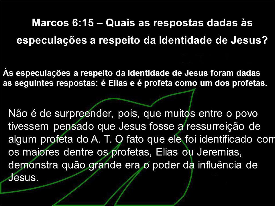Marcos 6:15 – Quais as respostas dadas às especulações a respeito da Identidade de Jesus