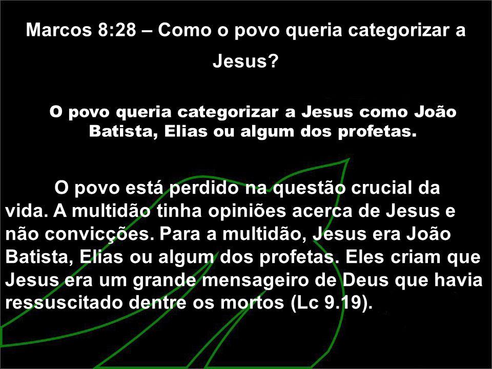 Marcos 8:28 – Como o povo queria categorizar a Jesus