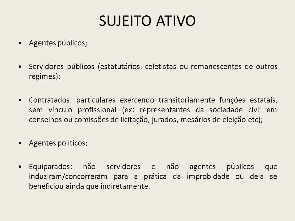 SUJEITO ATIVO Agentes públicos;