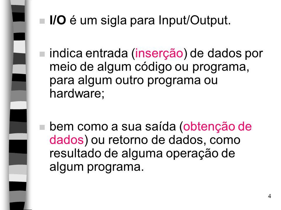 I/O é um sigla para Input/Output.