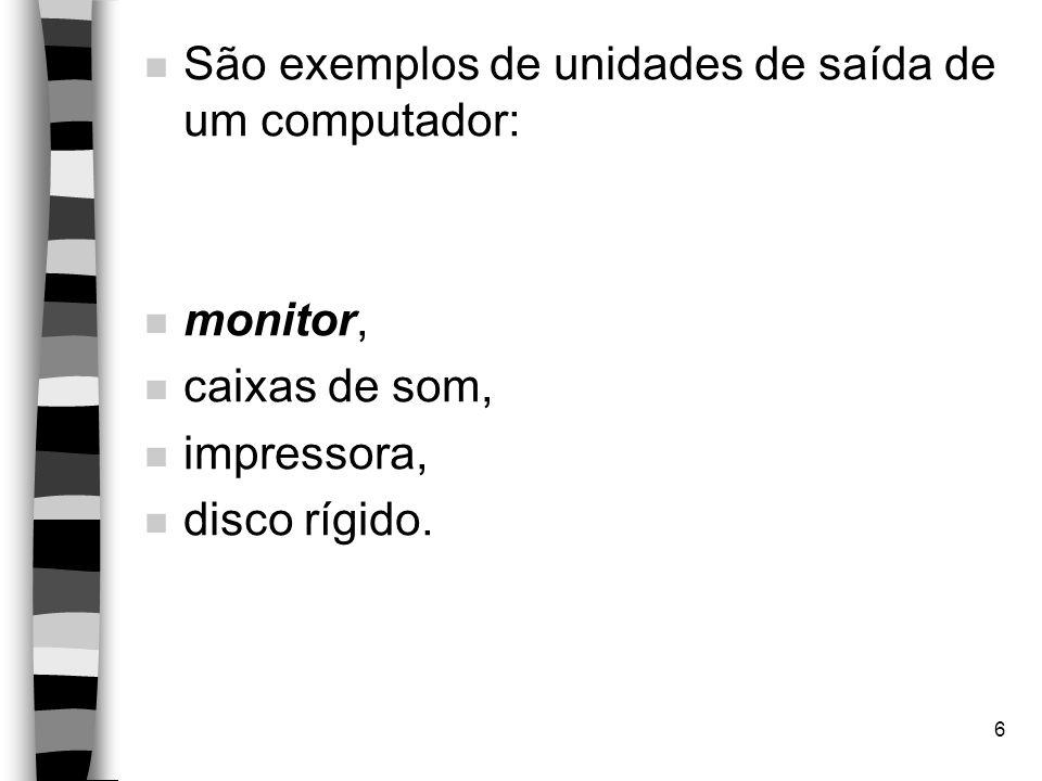 São exemplos de unidades de saída de um computador: