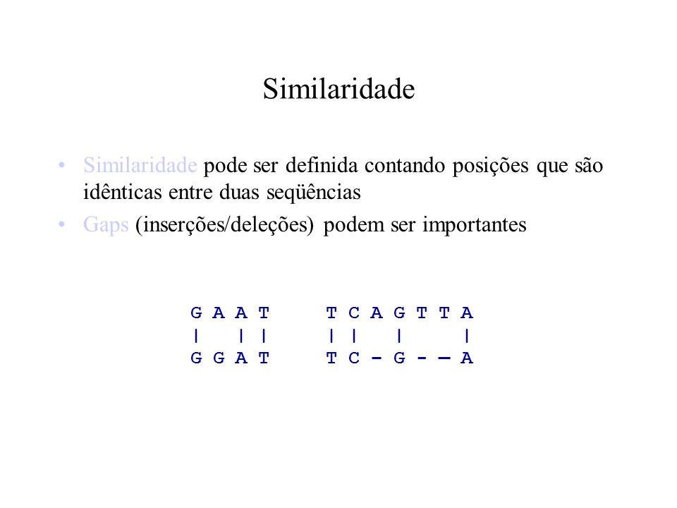 Similaridade Similaridade pode ser definida contando posições que são idênticas entre duas seqüências.