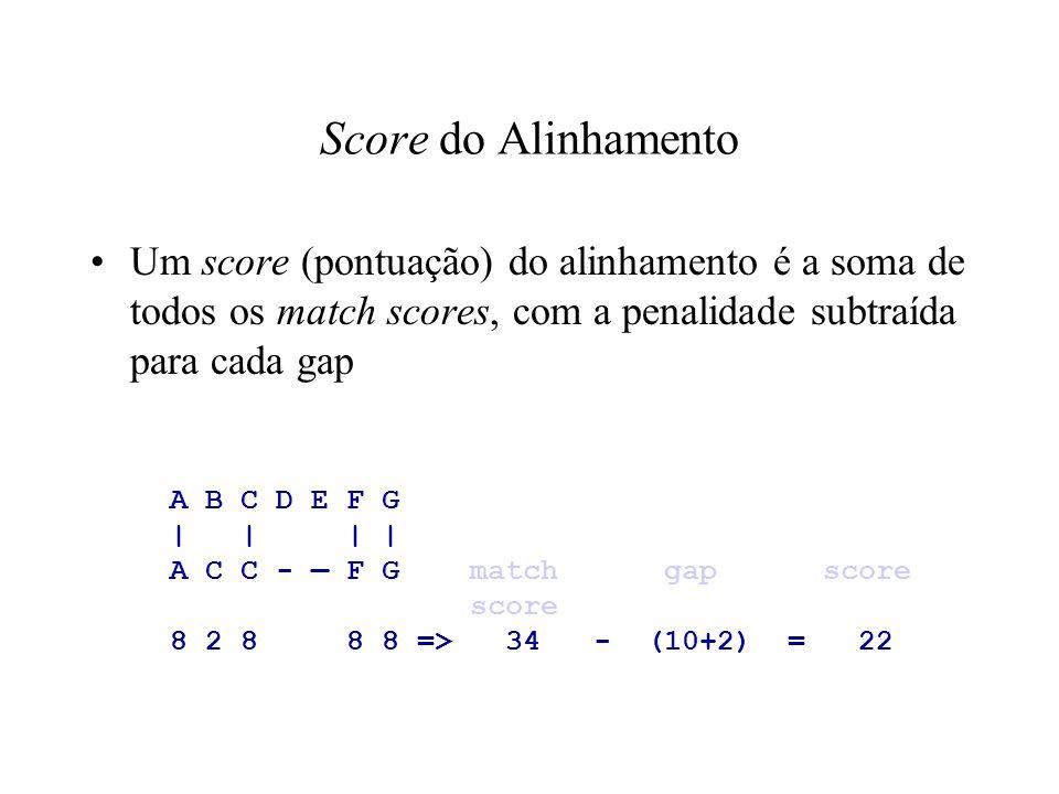 Score do Alinhamento Um score (pontuação) do alinhamento é a soma de todos os match scores, com a penalidade subtraída para cada gap.