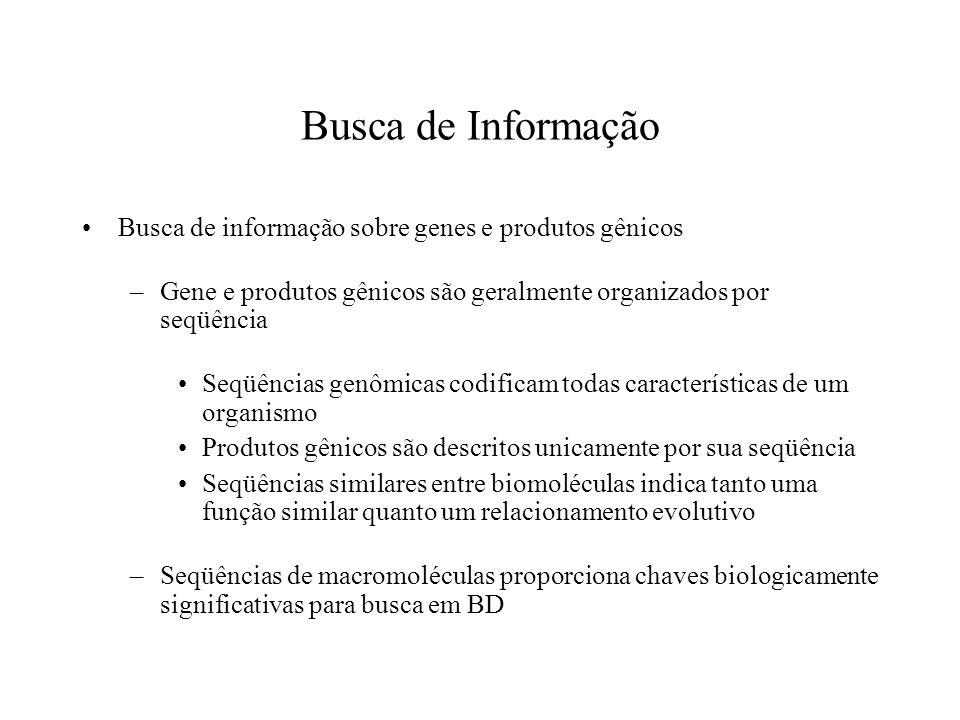 Busca de Informação Busca de informação sobre genes e produtos gênicos