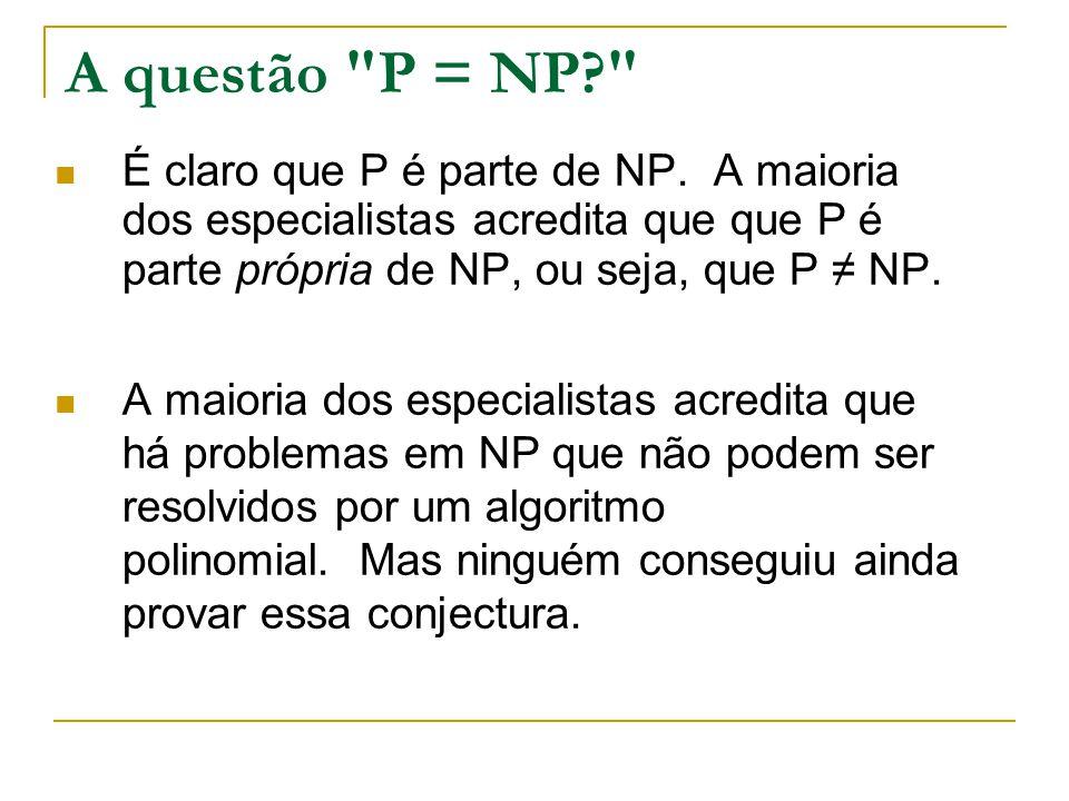 A questão P = NP É claro que P é parte de NP. A maioria dos especialistas acredita que que P é parte própria de NP, ou seja, que P ≠ NP.